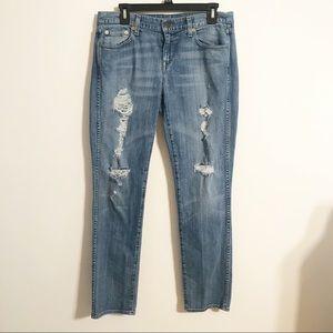 J Crew Vintage Blue Distressed Straight Leg Jeans